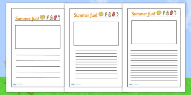 Summer Fun Writing Frames - summer writing frames, summer fun
