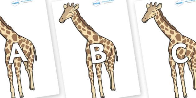 A-Z Alphabet on Giraffe - A-Z, A4, display, Alphabet frieze, Display letters, Letter posters, A-Z letters, Alphabet flashcards