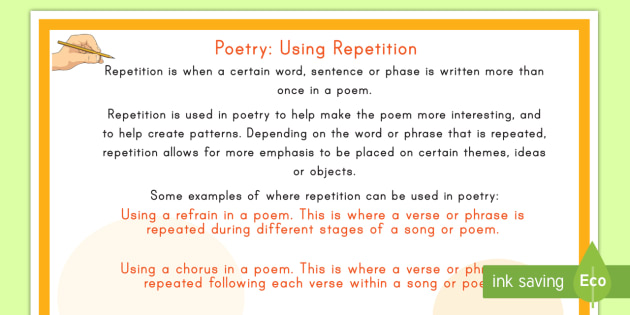 Poetry Using Repetition Display Poster Poetry Repetition