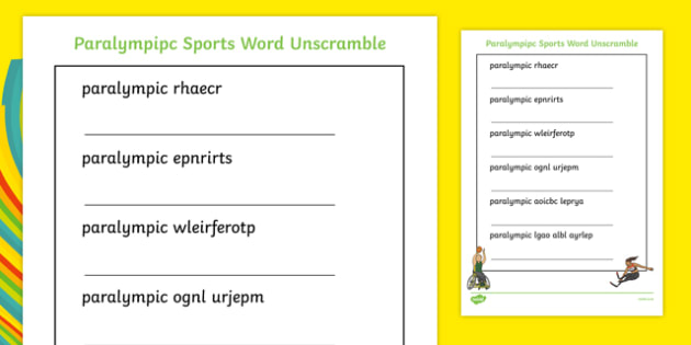 Paralympic Sport Word Unscramble