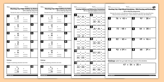 Inverse Operations Activity Pack - Year 3 Worksheets