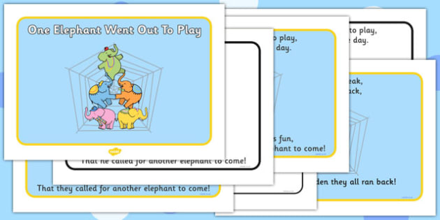 One Elephant Went Out to Play Sequencing - One Elephant Went Out to Play, nursery rhyme, rhyme, rhyming, nursery rhyme story, nursery rhymes, counting rhymes, addition, counting, one more than,