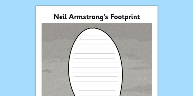 Neil Armstrong Moon Footprint Writing Frame - neil armstrong, footprint, writing frame