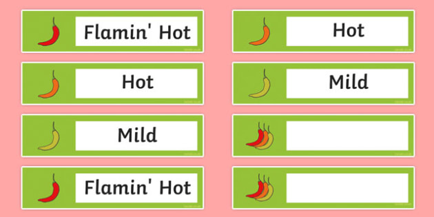 Chilli Challenge Resource Labels - chilli challenge, resource labels, labels, display