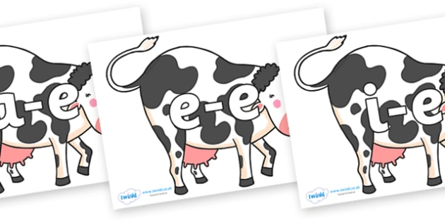 Modifying E Letters on Bullabaloo Cow to Support Teaching on Farmyard Hullabaloo - Modifying E, letters, modify, Phase 5, Phase five, alternative spellings for phonemes, DfES letters and Sounds