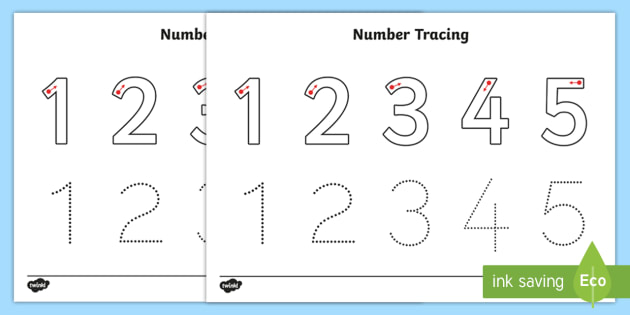 Number Tracing Worksheet 1-5 - number, tracing, worksheet, maths ...