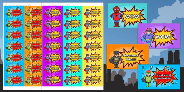VCOP Superhero Stickers - vcop, superhero, stickers, writing
