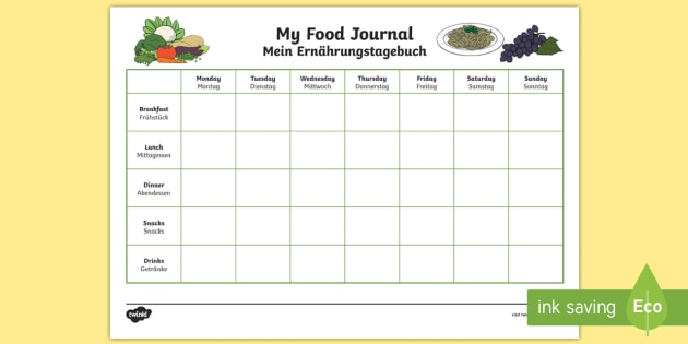 my healthy eating food journal worksheet worksheet english german health. Black Bedroom Furniture Sets. Home Design Ideas