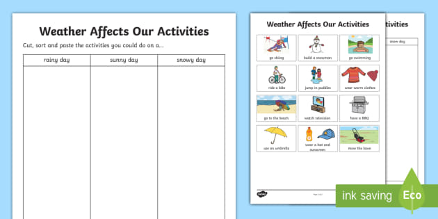 Weather Affects Our Activities Worksheet (teacher made)