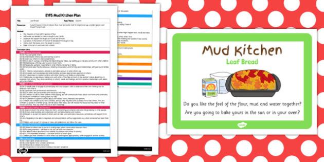 Leaf Bread EYFS Mud Kitchen Plan and Prompt Card Pack - mud kitchen