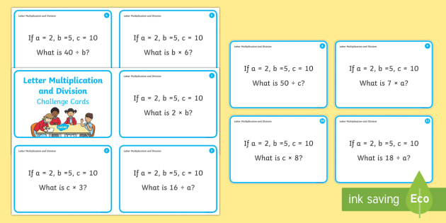 Letter Multiplication and Division Challenge Cards - Year 1, Maths Mastery, Multiplication, multiply, lots of, times, times tables, product, divide, divi