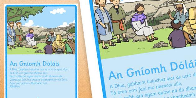 Céad Fhaoistin, An Gníomh Dóláis (Act of Sorrow), Display Poster - Céad Fhaoistin, First Confession, Penance, sacrament, display, prayer, paidir, religion, preparation, gaeilge, mass, poster, sacred space, sorrow, act of sorrow