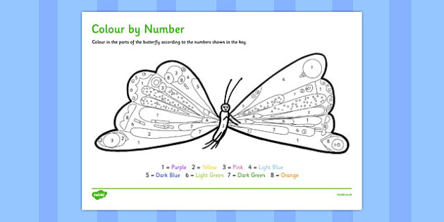 Butterfly Colour by Number to Support Teaching on The Very Hungry Caterpillar - count