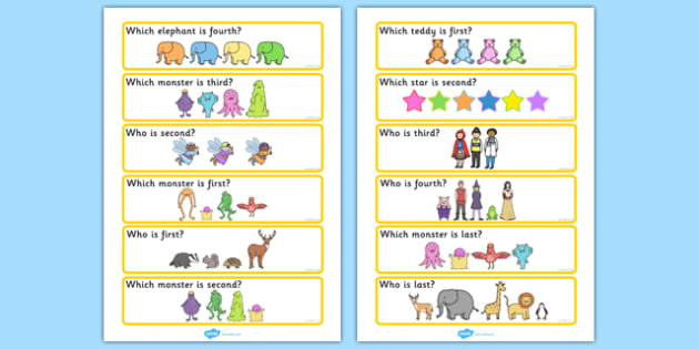 Who Is...?' Ordinal Number Concept Cards Activity (Set Two) - SEN, order