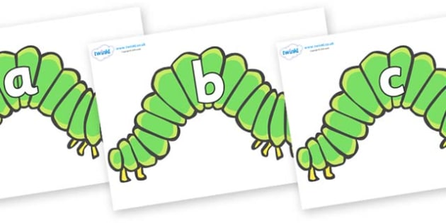 Phase 2 Phonemes on Hungry Caterpillars to Support Teaching on The Very Hungry Caterpillar - Phonemes, phoneme, Phase 2, Phase two, Foundation, Literacy, Letters and Sounds, DfES, display
