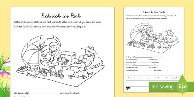 Picknick im Park Präpositionen Arbeitsblatt - spring, seasons