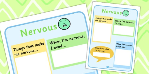 Nervous Chart - feelings, emotions, SEN, class management, charts