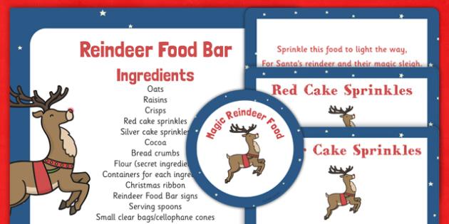 Reindeer Food Bar Recipe and Resource Pack - christmas, reindeer, food, dust, sprinkle, magic