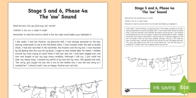 Northern Ireland Linguistic Phonics Stage 5 and 6 Phase 4a 'aw' Sound Activity Sheet  - NI, Worksheet, sound search, text