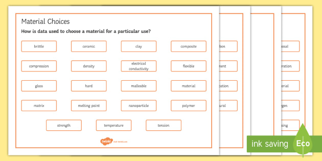 OCR 21st Century Combined Science C4 Material Choices Word Mat - Word Mat, gcse, chemistry, properties, material, ceramic, composite, ceramics, composites, polymer,