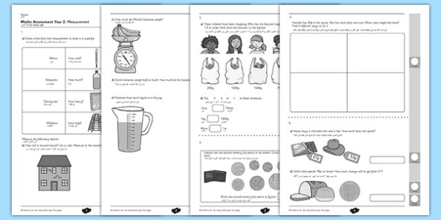 Year 2 Maths Assessment Measurement Arabic Translation - arabic, assessments, measurement, year 2, maths, term 1