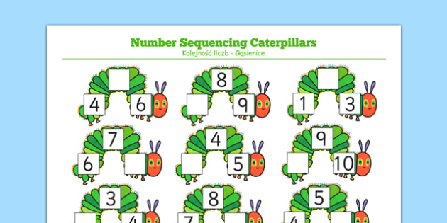 The Very Hungry Caterpillar Number Sequencing Caterpillars Polish Translation - Number Sequencing, The Very Hungry Caterpillar, ks1, eyfs