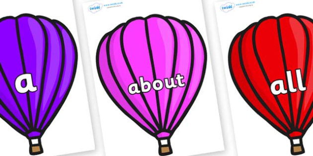 100 High Frequency Words on Hot Air Balloons (Plain) - High frequency words, hfw, DfES Letters and Sounds, Letters and Sounds, display words