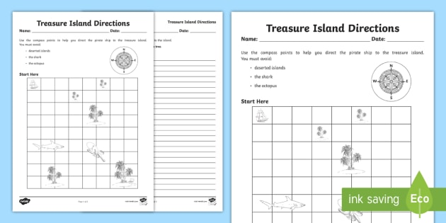 Treasure Island Directions Instruction Writing Worksheet - giving ...