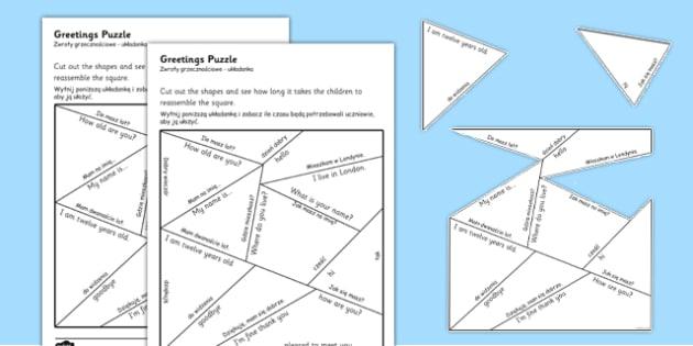Greetings Puzzle Polish Translation - polish, greetings, puzzle, activity