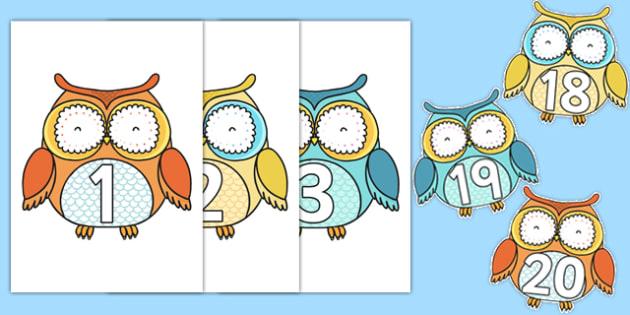 1-20 on Superb Owls - 1-20, superb owls, superb, owls, display, numbers, 1, 20, super bowl