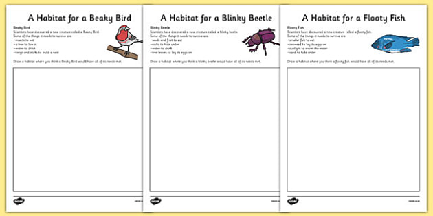 Imaginary Animal Habitat Worksheets Science Year 1