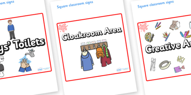 Red Themed Editable Square Classroom Area Signs (Plain) - Themed Classroom Area Signs, KS1, Banner, Foundation Stage Area Signs, Classroom labels, Area labels, Area Signs, Classroom Areas, Poster, Display, Areas