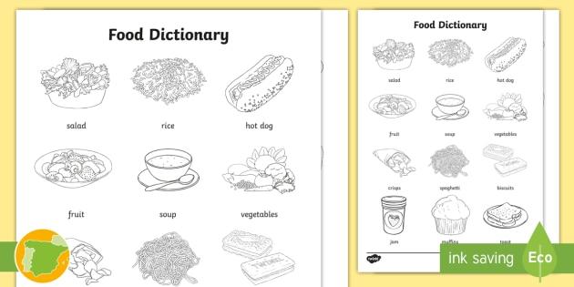 A2 Diccionario Para Colorear La Comida En Inglés English Food