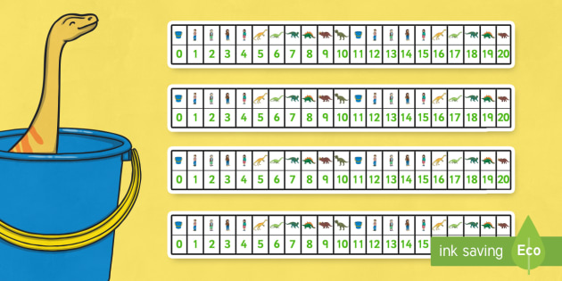 Number Track 0-20 to Support Teaching on Harry and the Bucketful of Dinosaurs - counting