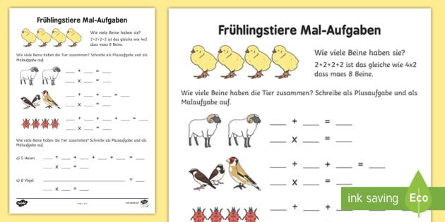 Frühlingstiere Mal Aufgaben Arbeitsblatt: Erstes Rechnen