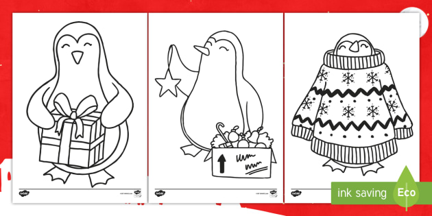 christmas penguin colouring pages ks1 key stage one animal festive themed