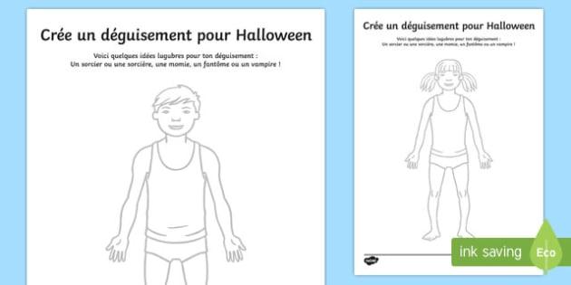 Feuille d'activités pour créer un déguisement d'Halloween