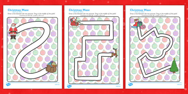 Christmas Pencil Control Path Worksheets Arabic Translation - arabic, christmas, pencil control, path, worksheets