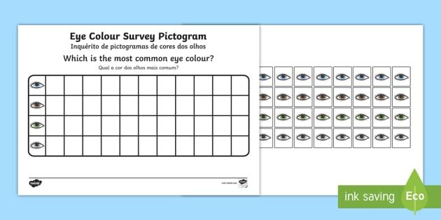 Eye Colour Survey Pictogram English/Portuguese - colour, colours, eal