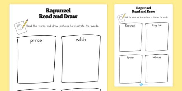 Rapunzel Read and Draw Worksheets - australia, rapunzel, read, draw