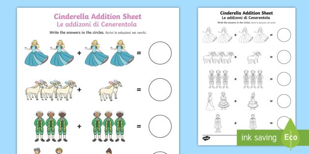 cinderella addition sheets worksheet activity sheet english italian. Black Bedroom Furniture Sets. Home Design Ideas