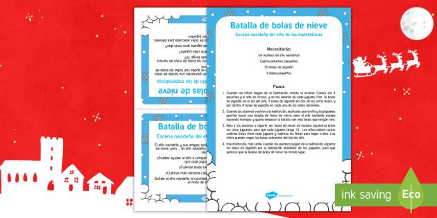 Escena matemática con el elfo navideño: Batalla de bolas de nieve - numeros, problemas matemáticos, navidad, navideño, Spanish