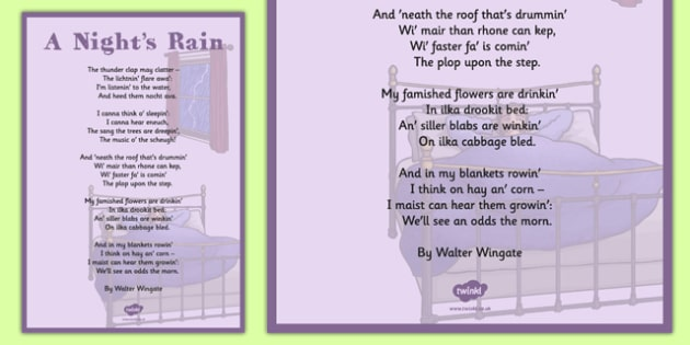 Walter Wingate: A Night's Rain Poem A4 - cfe, walter wingate, a nights rain, poem, a4