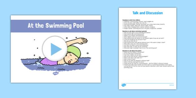 At the Swimming Pool - roi, irish, gaeilge, English, Oral language, the swimming pool