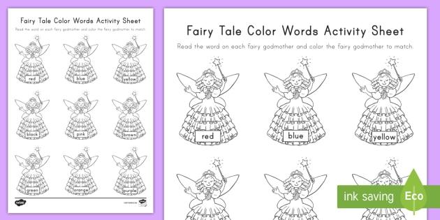 fairy tale color words worksheet worksheet sight words color words. Black Bedroom Furniture Sets. Home Design Ideas