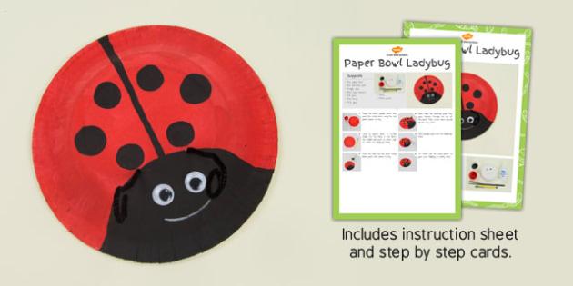 Paper Bowl Ladybug Craft Instructions - ladybug, craft, paper