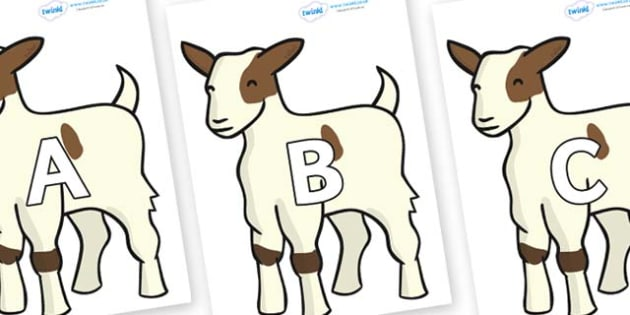 A-Z Alphabet on Baby Goats - A-Z, A4, display, Alphabet frieze, Display letters, Letter posters, A-Z letters, Alphabet flashcards