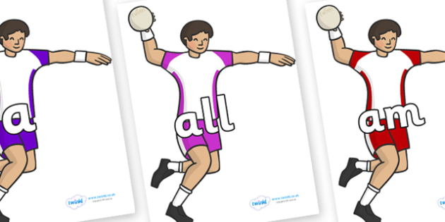 Foundation Stage 2 Keywords on Handball Players - FS2, CLL, keywords, Communication language and literacy,  Display, Key words, high frequency words, foundation stage literacy, DfES Letters and Sounds, Letters and Sounds, spelling