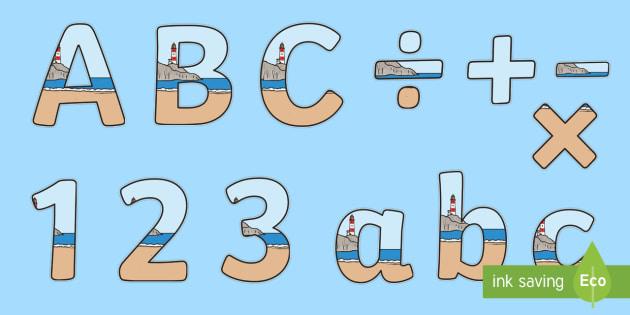 Cursive Display Lettering Symbols Seaside