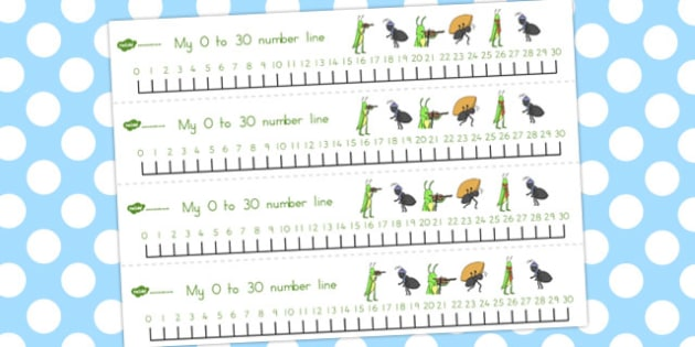The Ant and the Grasshopper Number Lines 0-30 - numbers, numeracy